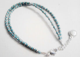 Ladies New Boho Turquoise and Silver Toned Beaded Dual Chained Bracelet.