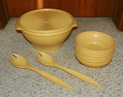 Tupperware - Servalier Bowl, 2 Salad Forks & 6 Salad Bowl Set - Harvest Gold