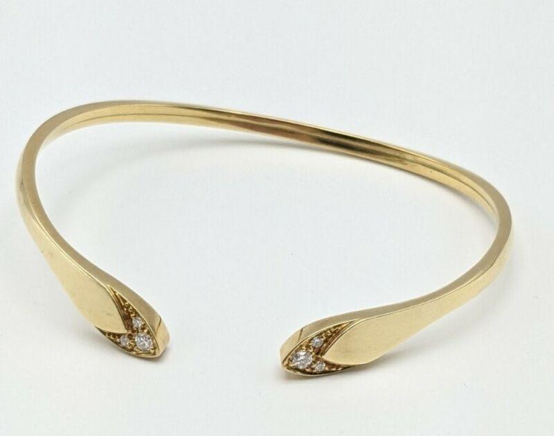 "Vintage 18k Yellow Gold Flexible Diamond Loop Cuff Bracelet Serpent Snake 7"""