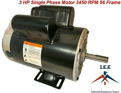 3 Hp 3450 Rpm Electric Motor Compressor Duty 56 Frame 1 Phase 58 Shaft 230 V