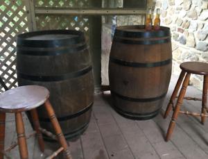 Decorative Antique Oak Barrels For Bar 47 Garden In Great Conditon