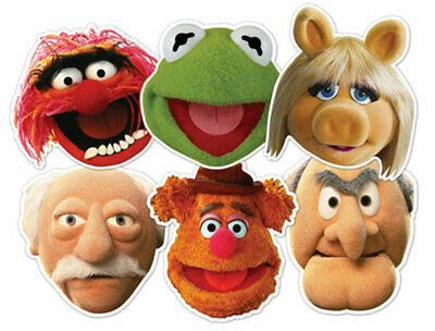 The Muppets Official 2D Card Party Face Mask Variety Set of 6 with Kermit