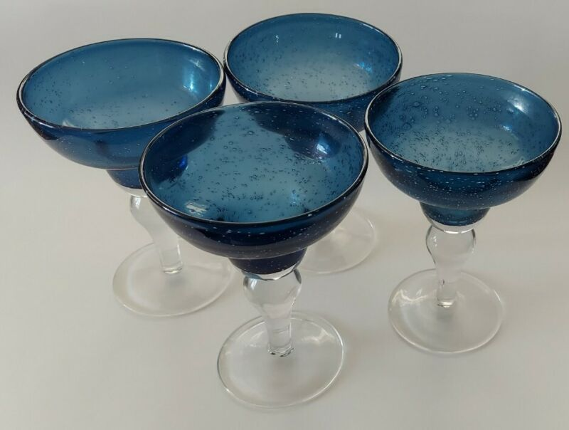 Vtg Set Of Aqua Blue Uranium Glass Stemmed Margarita/Cocktail Glasses