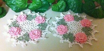 Custom Order Handmade Crochet Roses Doilies!  Set of 2 by leochic033