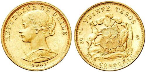 AC#YSD Chile 20 Pesos 1961. Fr. 56, KM 168. Gold coin