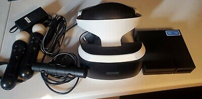 Sony PlayStation VR w/ Camera 2 Motion Controllers Works Launch Read Below As is