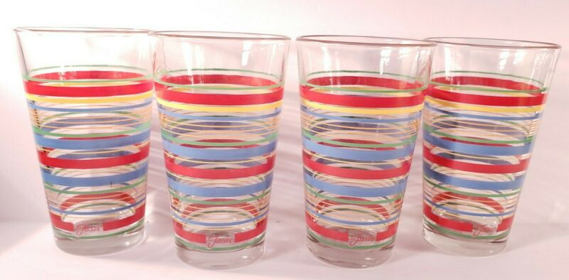 Set Of 4 Vintage Fiesta Ware 16 Oz. Striped Glasses