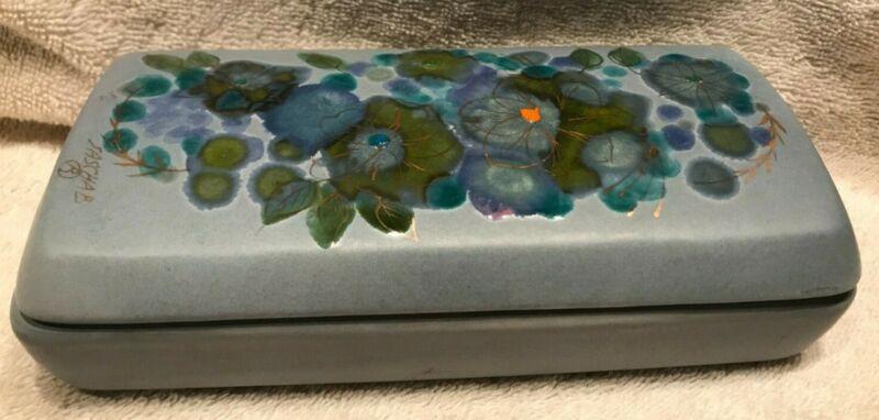 Signed Sasha B Brastoff Lidded Ceramic Box with Enameled Flowers (California)