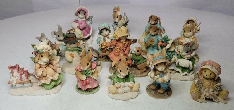 "Lot of 17 ""My Blushing Bunnies"" Figurines Priscilla Hillman Enesco Corp"