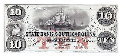 18Xx The State Bank  South Carolina Ten Dollar Obsolete Proof Note