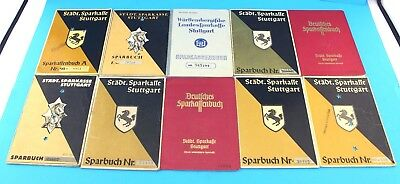 10x alte Sparbücher Sparbuch Stuttgart Württemberg Sparkasse passbook  1932-1953