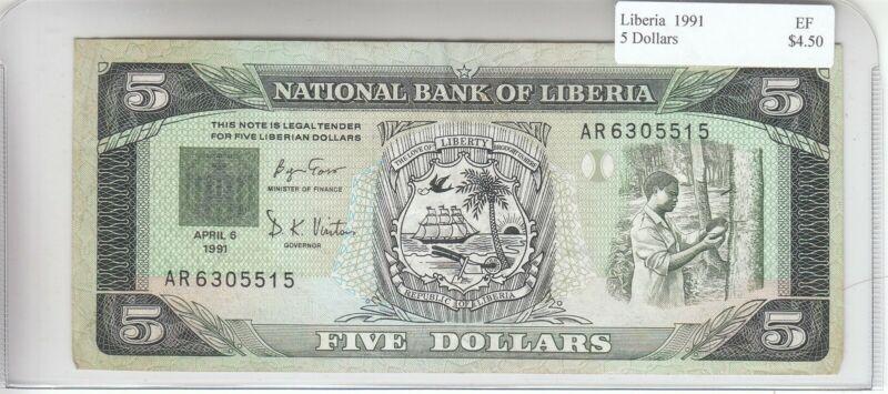 Liberia 5 Dollars 1991 XF Extra Fine