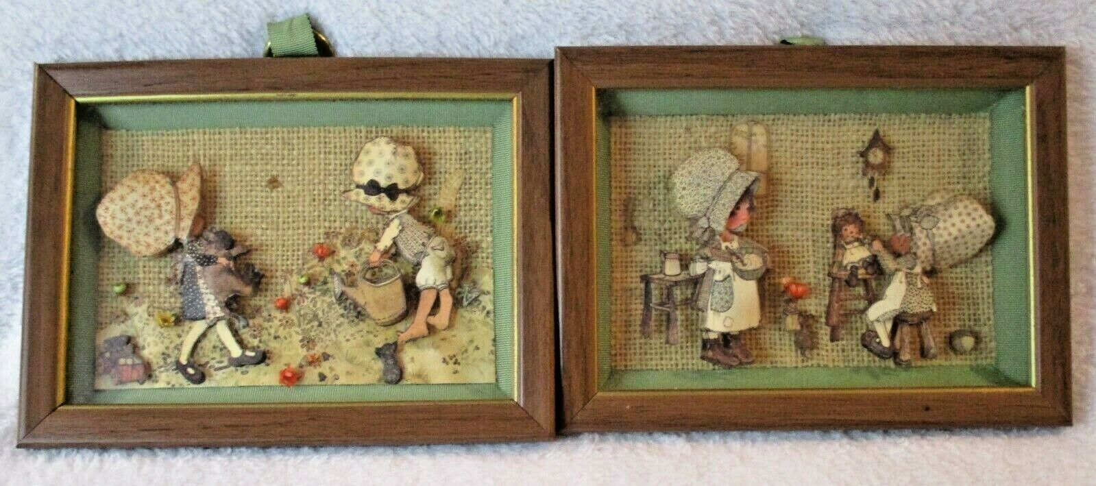 Lot Of 2 Vintage 3-D Layered Paper Holly Hobbie Art Picture Shadow Boxes Frames - $20.00