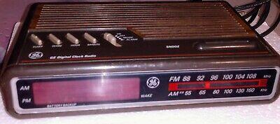 Vintage•GE 7-4612B•AM/FM•Alarm Clock Radio•Digital•LED•General Electric•TESTED