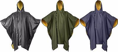 Yellow Rain Poncho (Rain Poncho Reversible PVC Poncho Blue Black Green)