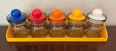 70s Plastic SPICE RACK w/Jars Bright colors VINTAGE Hong Kong WALL RETRO 11 pcs