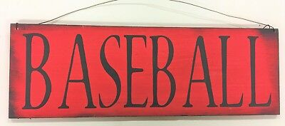 (Red Baseball wooden sign teen boys bedroom wall decor sports theme 4x12 )