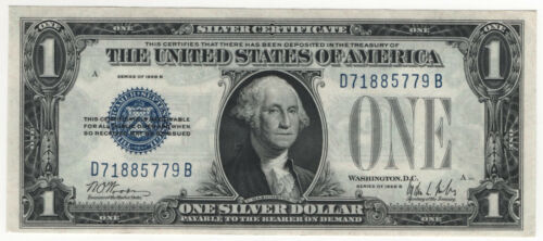 1928 B $1 SILVER CERTIFICATE FUNNY BACK FR.1602 CHOICE ABOUT UNCIRCULATED(779B)