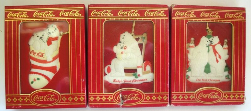 3 COCA COLA COKE  CHRISTMAS ORNAMENTS 1996 FINE PORCELAIN CHINA