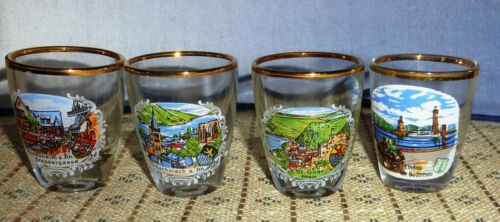 """Vintage lot of 4 Shot Glass  2"""" tall  Germany See photos"""