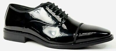 Wedding Tuxedo black patent leather formal dress shoes Cap toe Lace up Faranzi 3