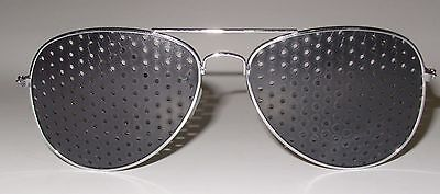 Pinhole Glasses Metal Frame Silver Finish