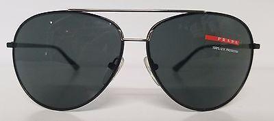 Men's Designer PRADA Aviator Black Metal Sunglasses Mod SPS 52L Made in Italy