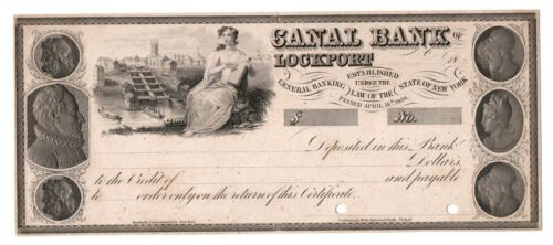 Canal Bank of Lockport New York C.1840s Front Plate printed Proof / Check