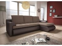 NEW CORNER SOFA BED IN BROWN WITH STORAGE& SPRING SEAT