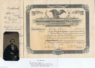 Antique Original Capital Stock Cert  Blenheim Creamery Co  No  1898  Asa Stevens