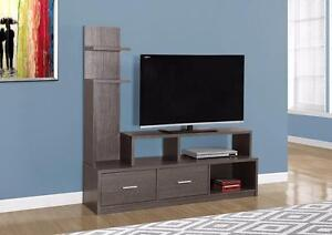 """$279 - TV STAND – 60""""L / GREY WITH A DISPLAY TOWER"""