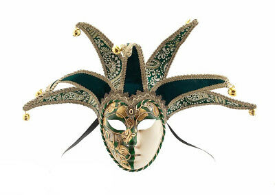 Mask Venice Volto Jolly Green and Golden 7 Spikes for Masquerade Ball 916 V46