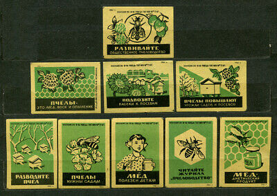1961, HONEY, BEES, BEEKEEPING, SET OF 9 OLD RUSSIAN MATCHBOX LABELS