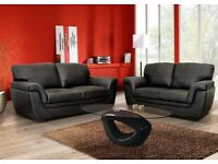 **FREE DELIVERY** HIGH QUALITY KATIA 3+2 SOFA SUITE (PU LEATHER) AVAILABLE IN BLACK OR BROWN