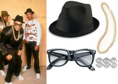 Fancy Dress Costume Run DMC 80'S Rap Group Hat Glasses Pimp Ring Gold Chain](Run Dmc Costume)