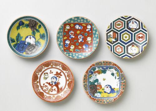 Doraemon Kutani Ware Porcelain 5 Design Small Plate Set