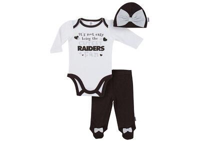 Oakland Raiders Baby Girl 3pc Strampler Bodysuit Hut - Baby Fußball Hut