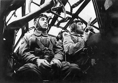 B&W WWII WW2  Photo Japanese Bomber Pilots  World War Two / 2212