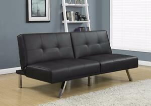 $329 - FUTON BLACK LEATHER-LOOK -- FREE DELIVERY