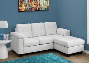 $499 - SOFA LOUNGER – WHITE OR GREY BONDED LEATHER