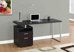 "LORD SELKIRK FURNITURECOMPUTER DESK - COMPUTER DESK – 60""L / CAPPUCCINO / SILVER METAL  $209.00"