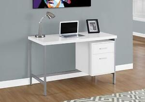 "LORD SELKIRK FURNITURE - COMPUTER DESK COMPUTER DESK – 48""L / WHITE / SILVER METAL - $209.00"