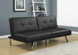 FUTON BLACK LEATHER-LOOK