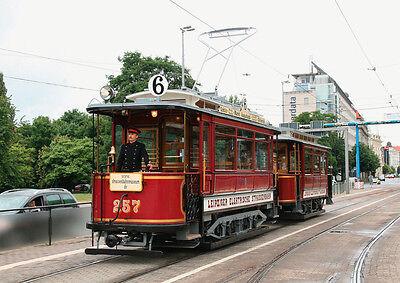 Ansichtskarte: historischer großer Motorwagen mit Anhänger, Triebwagen 257, Tram