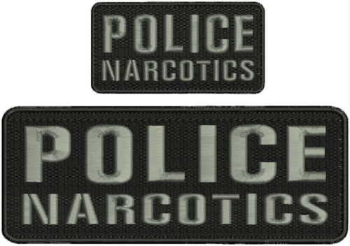 Police Narcotics Embroidery Patch 3x8 & 2x4 hook on back grey letters
