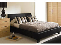 *14-DAY MONEY BACK GUARANTEE!* Double Leather Bed with hand-tufted Super Orthopaedic Mattress