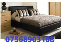 Bed DOUBLE LEATHER BED AND MATTRESS AND STORAGE bed 91082