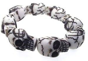 White-Large-Chunky-Gothic-Resin-Skull-Stretch-Bracelet