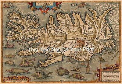 Ortelius Islandia Reproduktion Vintage Alt Antik Farbe Landkarte Plan Aufdruck