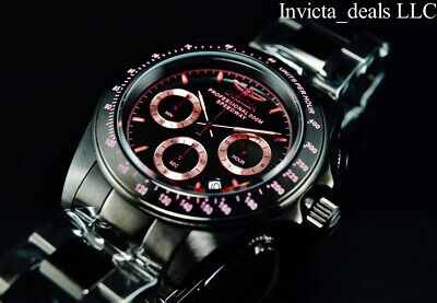 Invicta Men's 40mm SPEEDWAY Chronograph Black & Pink Tone Stainless Steel Watch